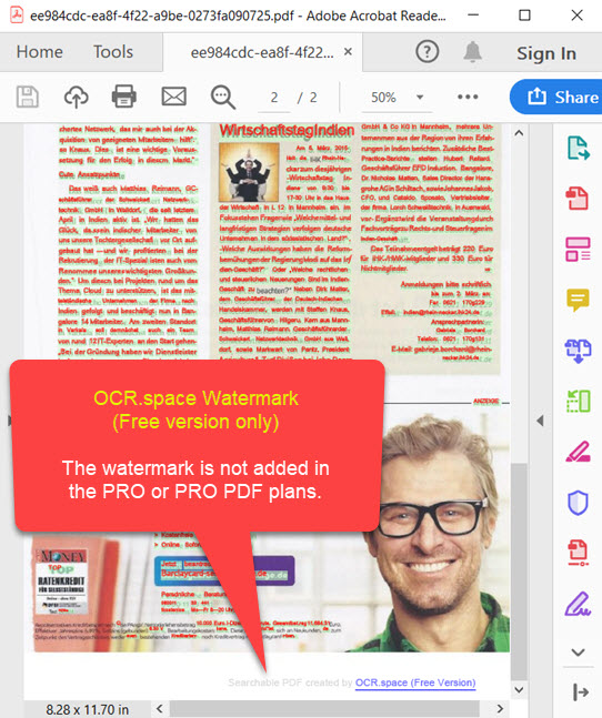 Searchable PDF Watermark - Free version only